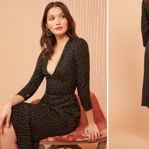 NWT Reformation Mabel Plunge Midi Dress In Monti